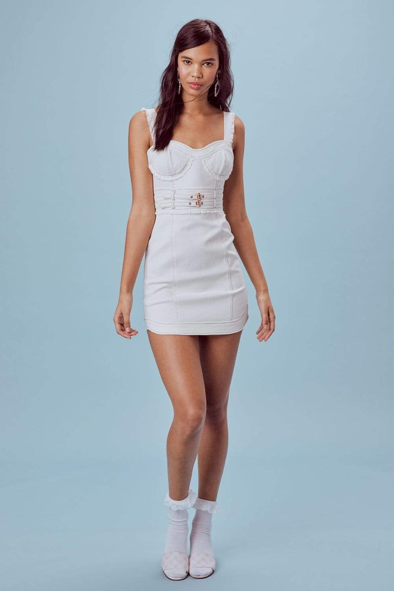 Love & Lemons Dress Large / White Denim / CD1734D-SU18 Daria Denim Underwire Dress