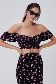 Love & Lemons Tops Blouse Laramie Floral Crop Top Lavender