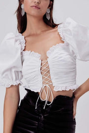 Love & Lemons Tops Blouse Sage Lace Up Crop Top Ivory