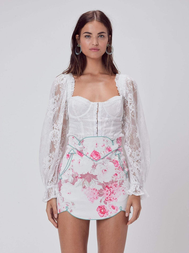 Love & Lemons Tops Blouse X Small / Ivory / CT1560-SP20 Cheyenne Lace Bustier Top Ivory