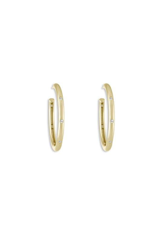 Lulu DK Earring One Size / Gold / 1260GPB Small Pave Studded Hoop