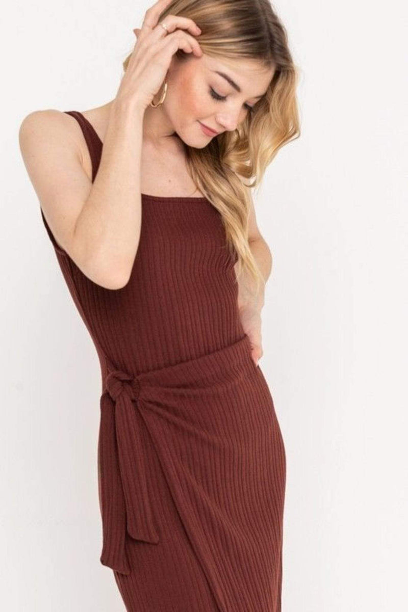 Alora Ribbed Square Neck Wrap Dress Brick