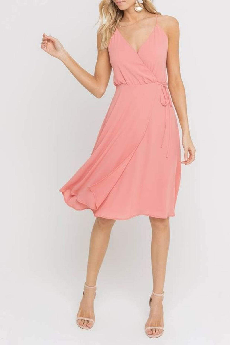 Lush Dress Delphine Side Tie Dress Coral Terra