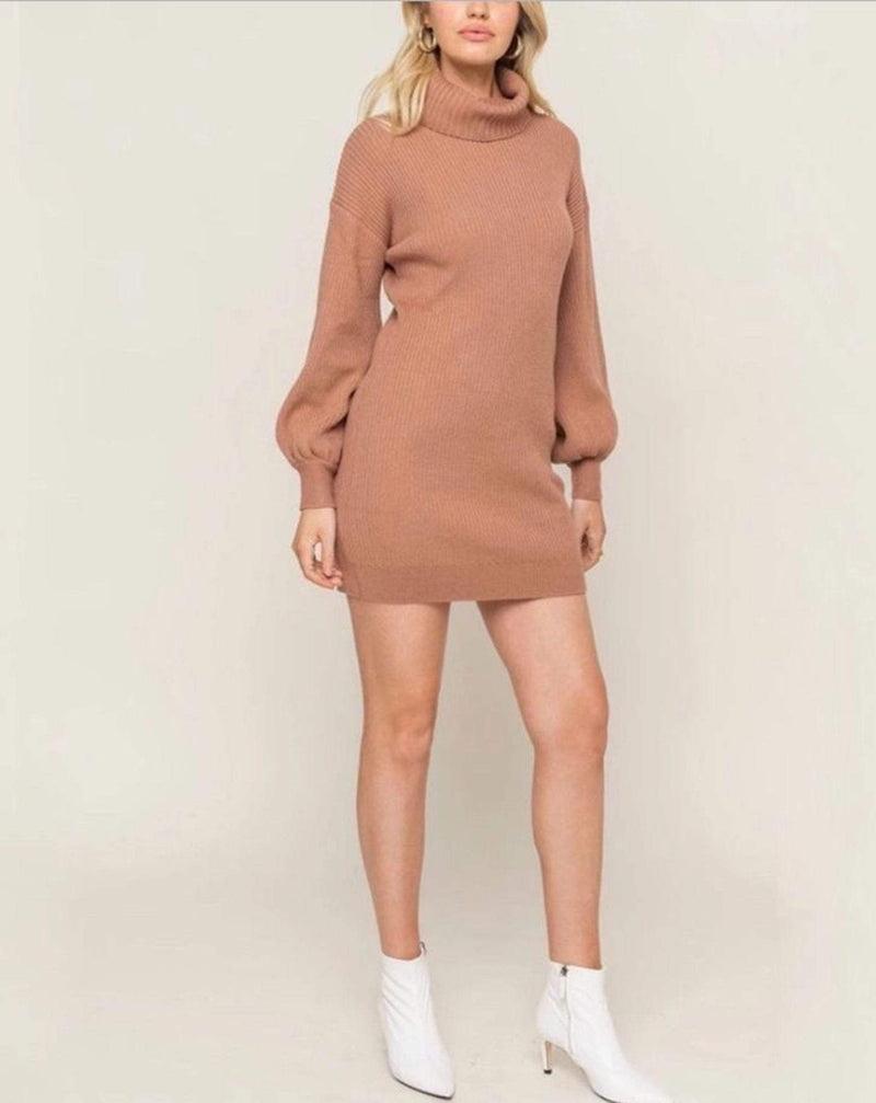 Poppy Turtle Neck Sweater Dress Dusty Mauve