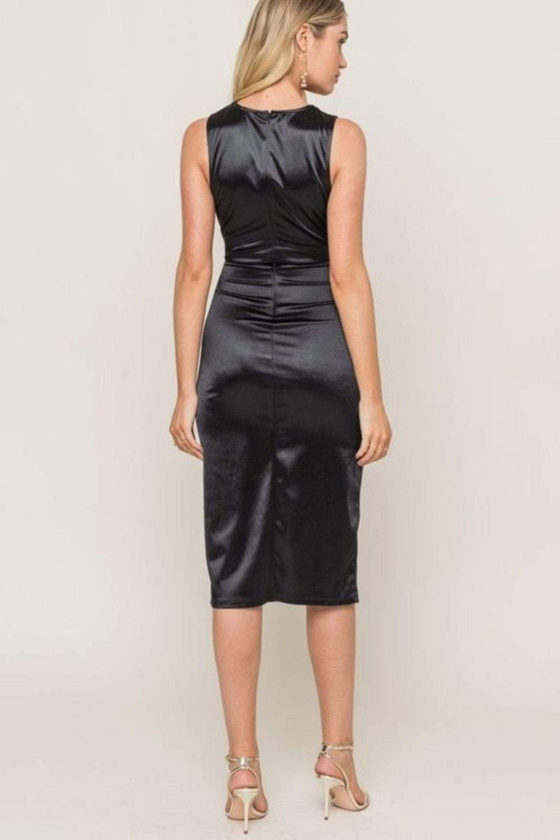 Rumi Cutout Satin Midi Dress Black