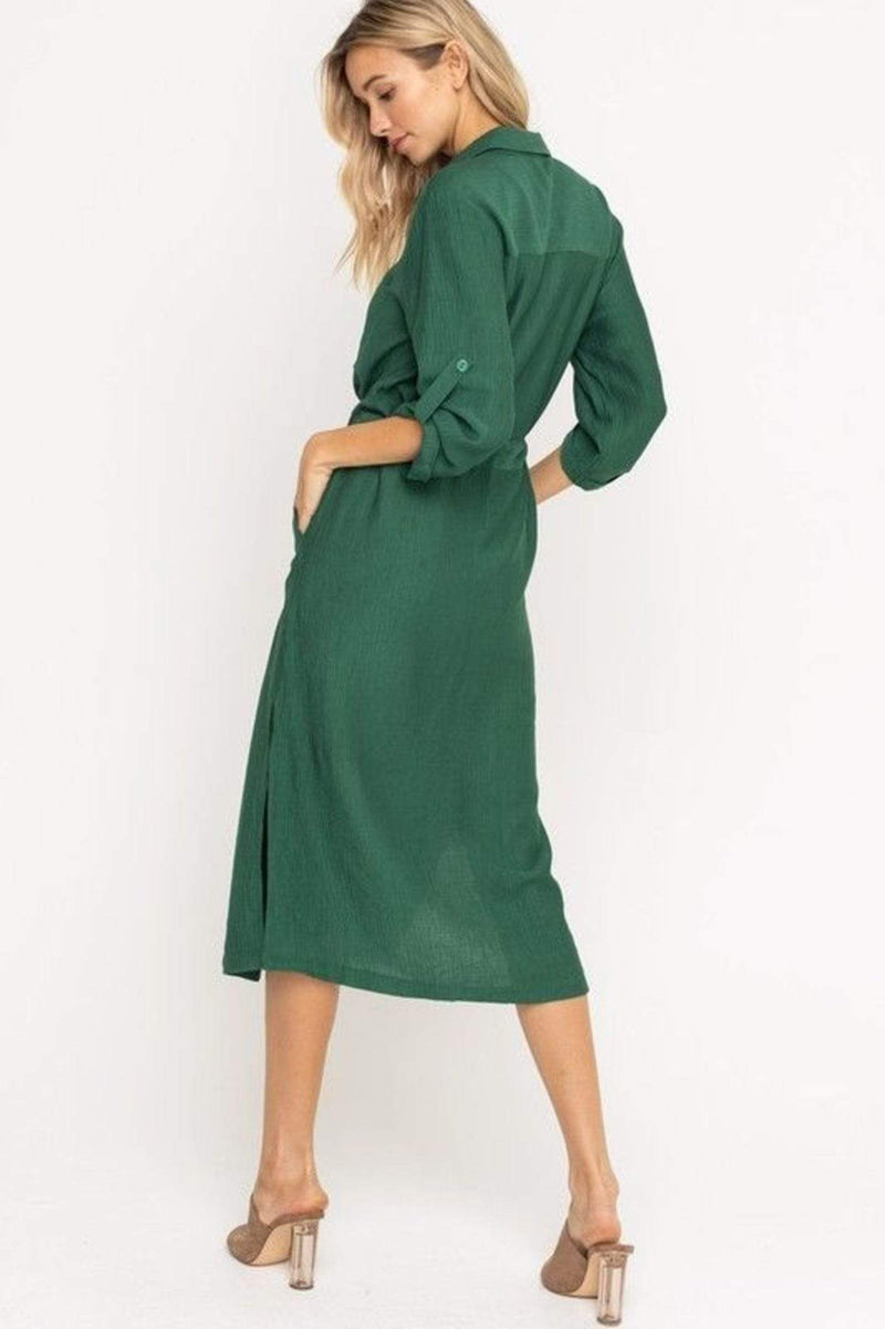 Scarlett Button Up Midi Dress Forest Green