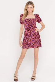 Lush Dress Small / Black/Pink / DR95970-GI Aria Square Neck Mini Dress Black/Pink
