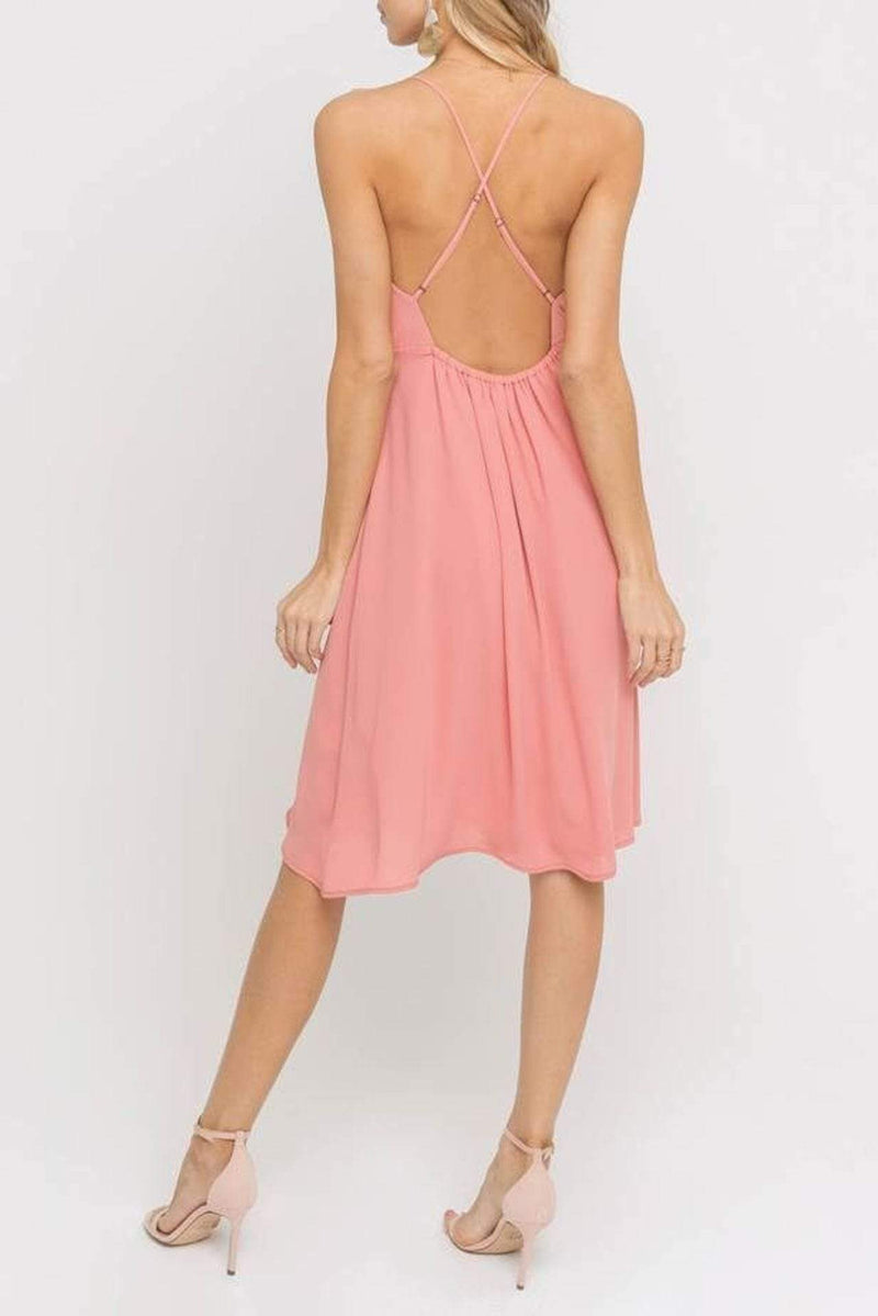 Lush Dress X Small / Coral Terra / DR95843-I Delphine Side Tie Dress Coral Terra