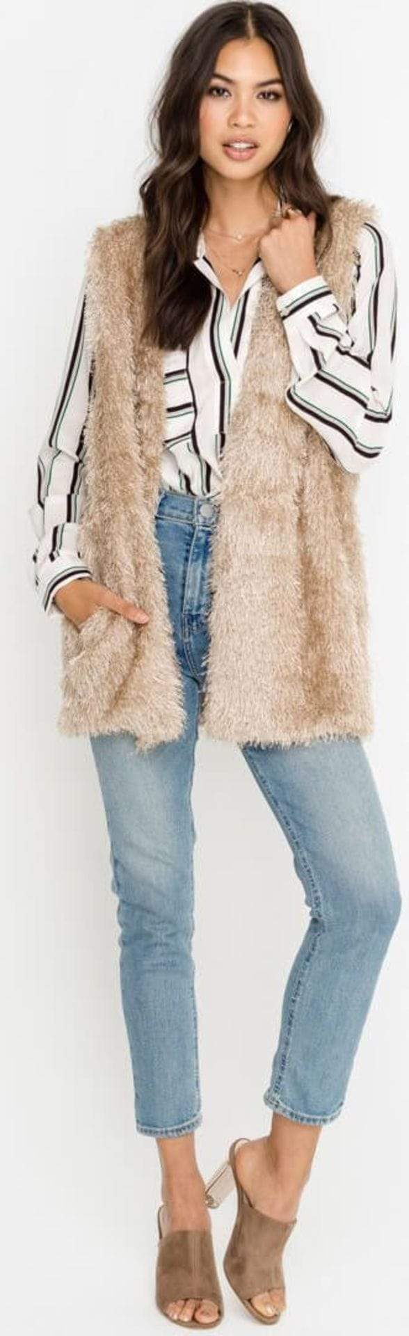 Lush Outerwear Shaggy Vest Champagnge