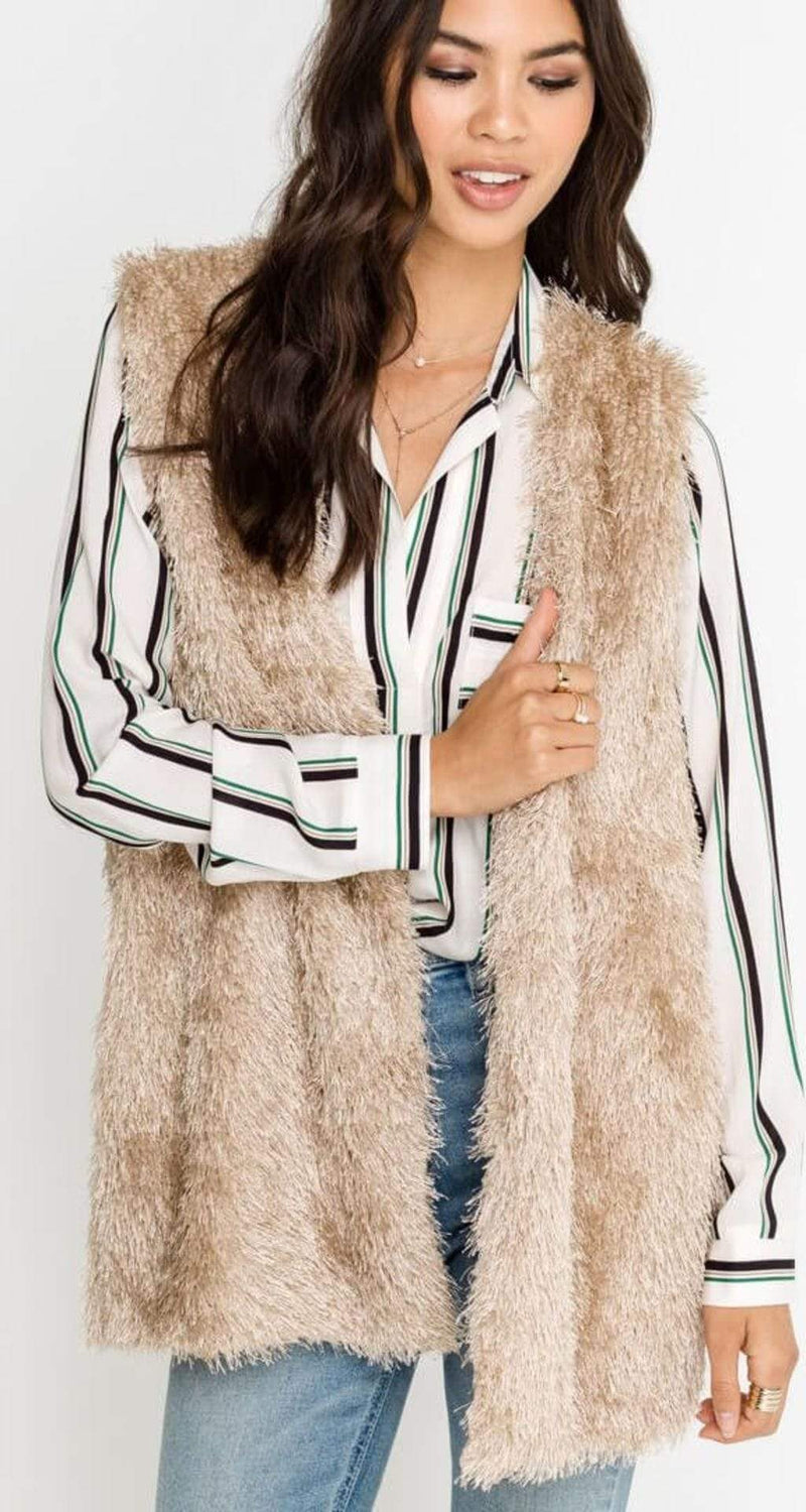 Lush Outerwear Small/Medium / Champagne / LT13545-S15 Shaggy Vest Champagnge