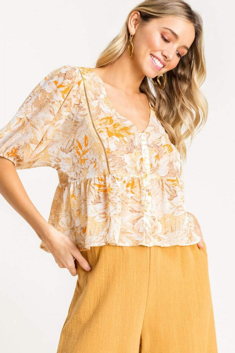 Lush Tops Blouse Broden Floral Babydoll Top Yellow