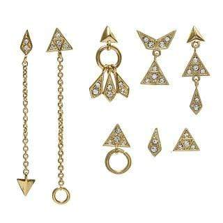 Luv Aj Earring One SIze / Gold / FW17E-PKMES-G Pave Kite Mixed Earring Set Gold