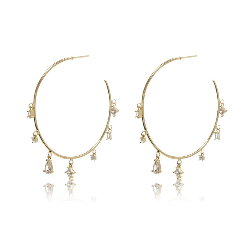 Luv Aj Earring One Size / Gold / FW17E-SGSH- G Scattered Gem Statement Hoops Gold