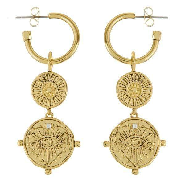 Luv Aj Earring One Size / Gold / SM18E-EEDCH-G The Evil Eye Double Coin Hoops
