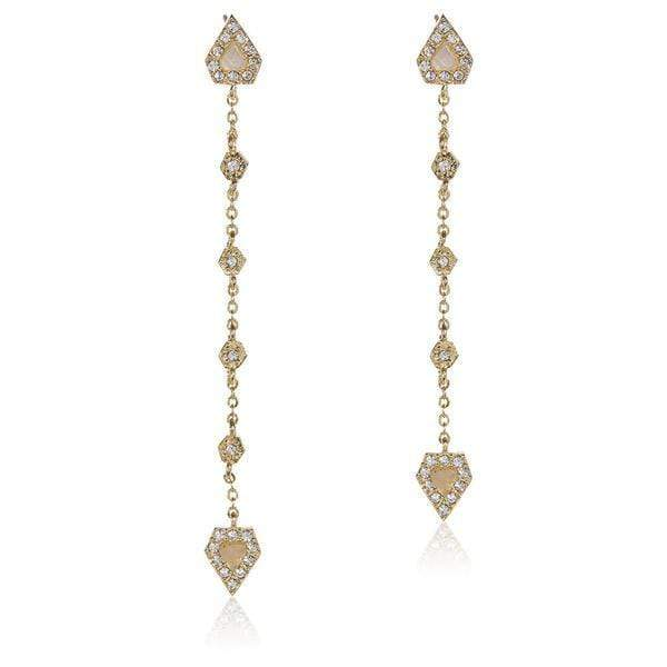 Luv Aj Earring One Size / Gold / SP17E-MCDE Moonstone Chain Drop Earrings