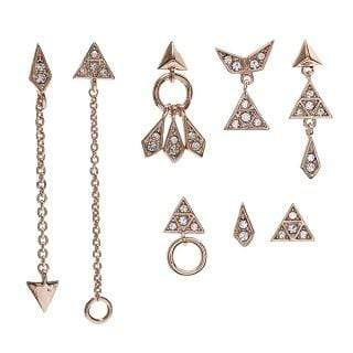Pave Kite Mixed Earrings Set Rose Gold