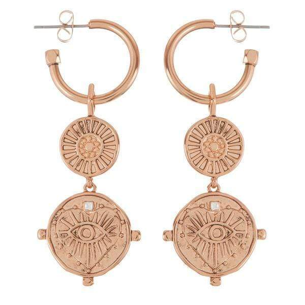 Luv Aj Earring One Size / Rose Gold / SM18E-EEDCH-G The Evil Eye Double Coin Hoops