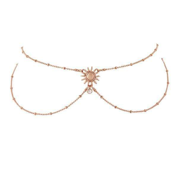 Luv Aj Necklace One Size / Rose Gold / SM18N-SHC-S The Sunburst Hanging Choker