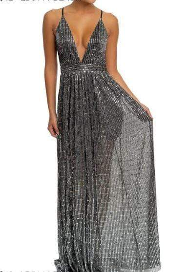 Disco Shine Maxi Dress Black