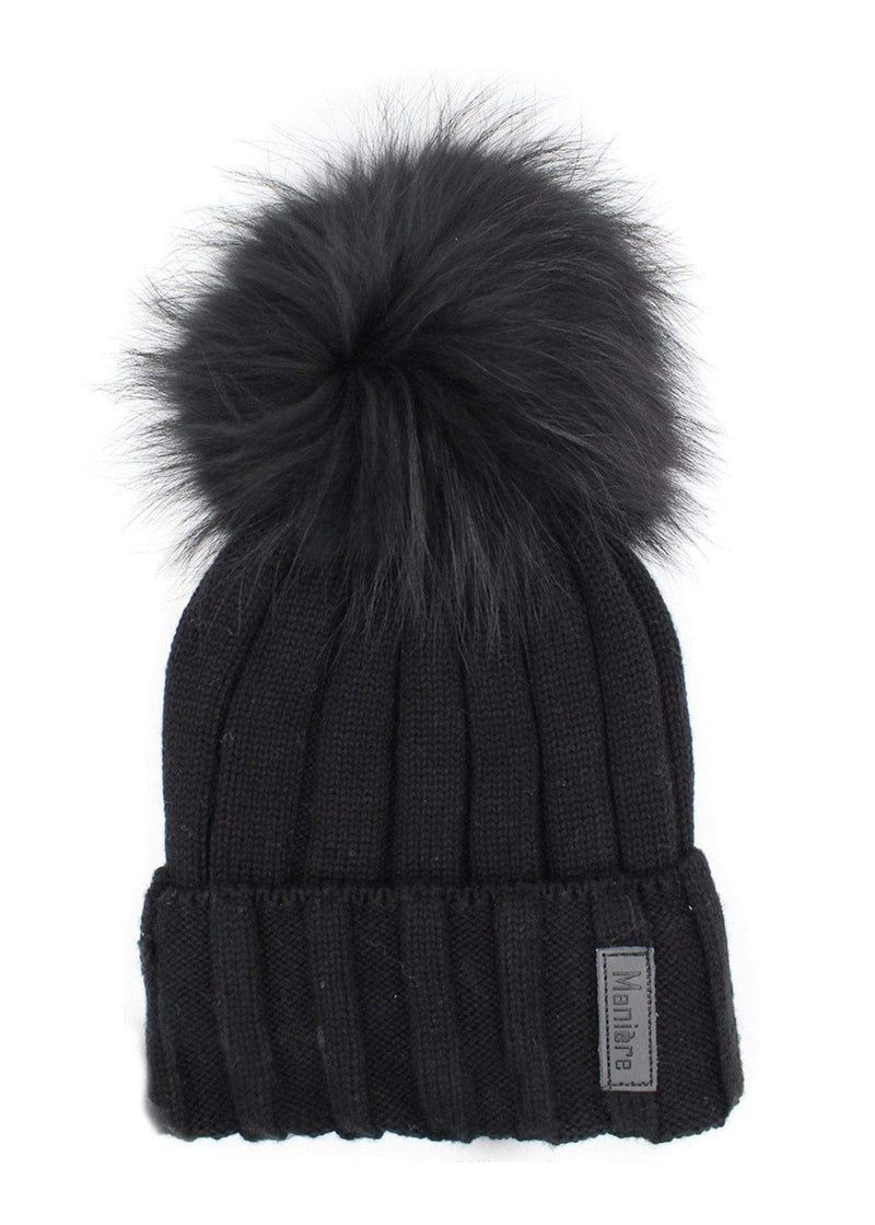 Maniere Hat One Size / Black / RMWA17BK Ribbed Merino Pom Pom Hat Black