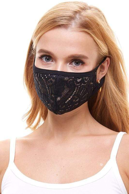 Miley+Molly Accessories One Size / Black Lace Face Mask Black