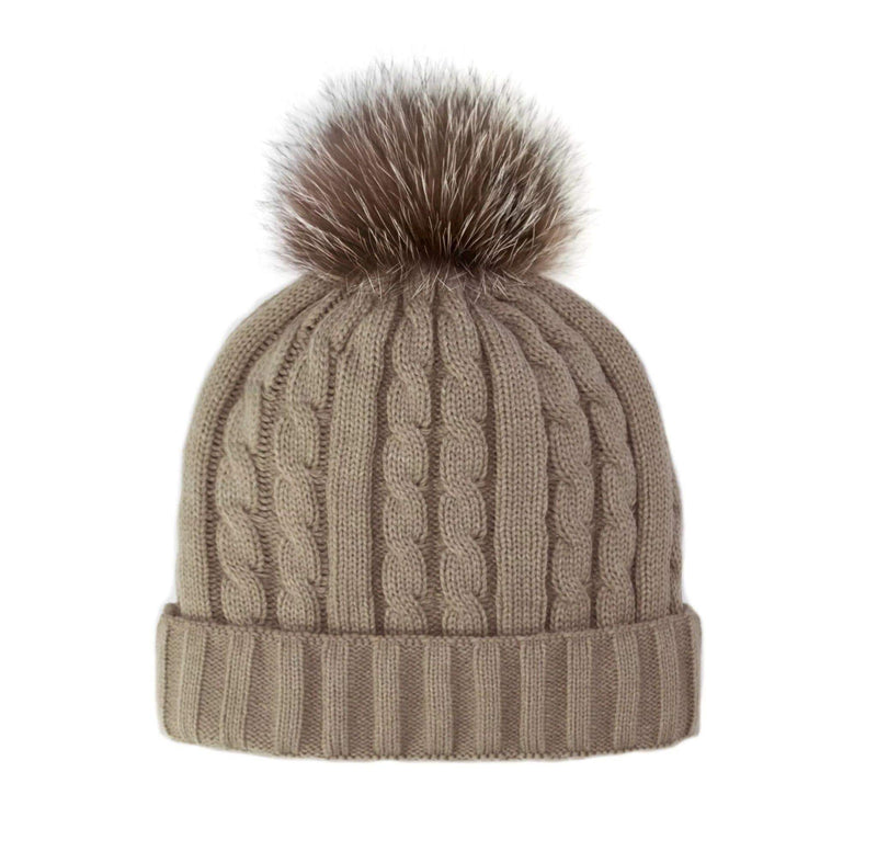 Mitchie's Matchings Hat One Size / Taupe / HTEPH1 Braxton Knit Hat w/ Fox Pom Taupe
