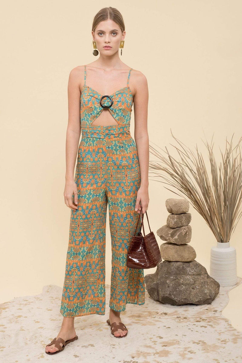 Calypso Cut Out Jumpsuit Aqua Multi