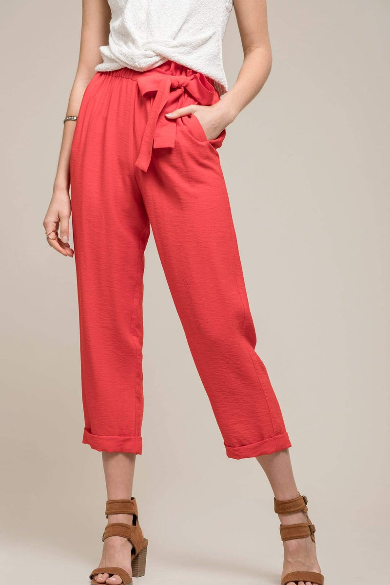 Moon River Pants Dahlia Bow Pants Red