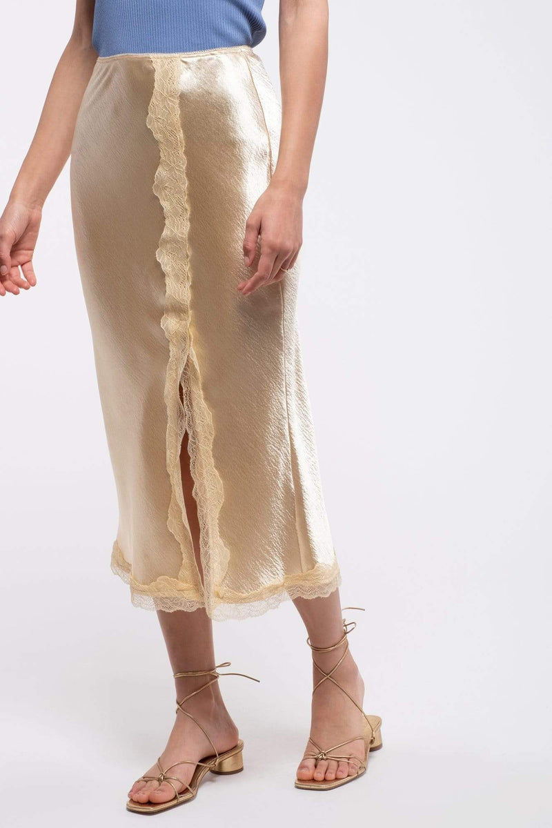 Regina Long Skirt with Lace Champagne