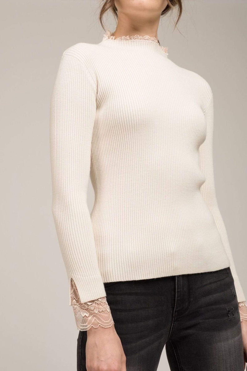 Moon River Sweater Eleanor Lace Turtleneck Cream