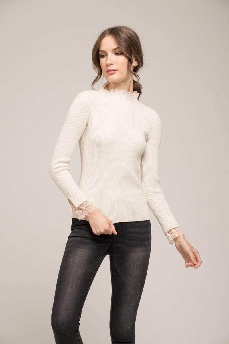 Moon River Sweater Large / Cream / MR4201 Eleanor Lace Turtleneck Cream