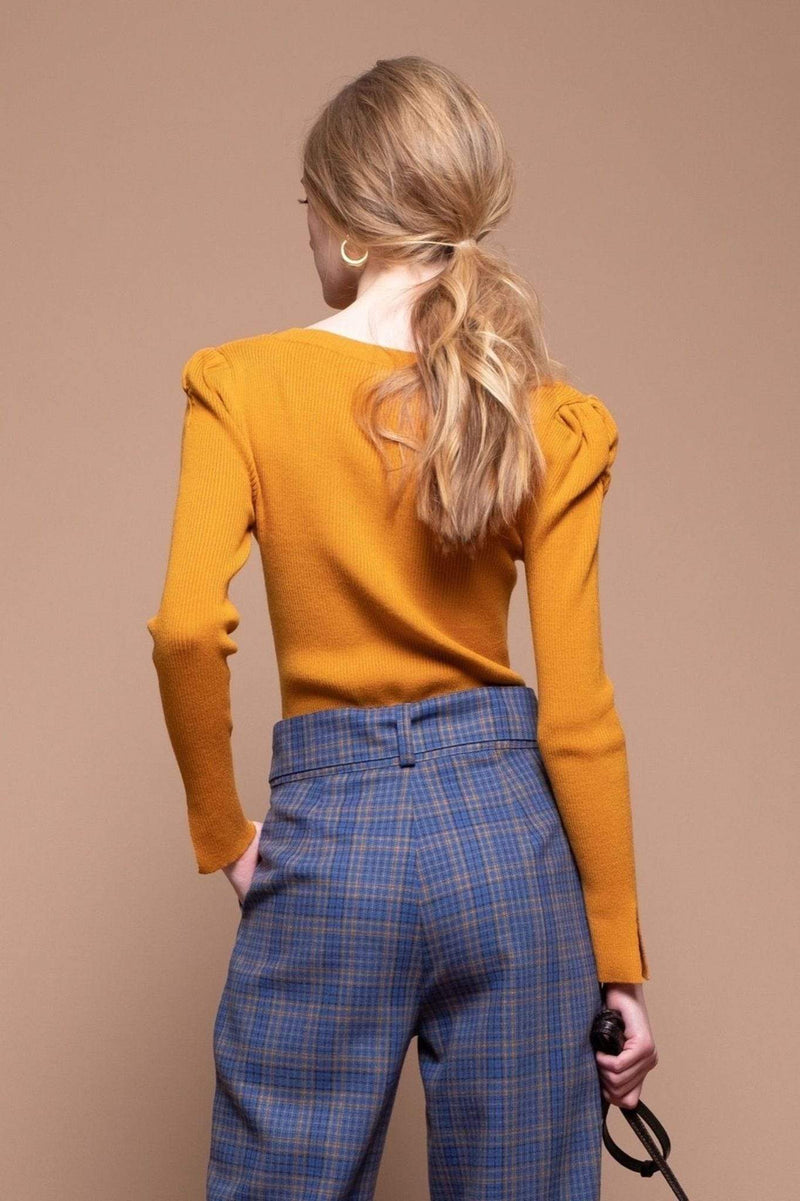 Moon River Sweater Markle Sweater Top Mustard
