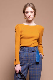 Moon River Sweater Medium / Mustard / MR5530 Markle Sweater Top Mustard