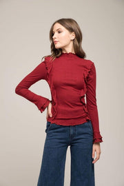 Moon River Sweater Medium / Wine / MR4198 Rowan Ruffle Mock Neck