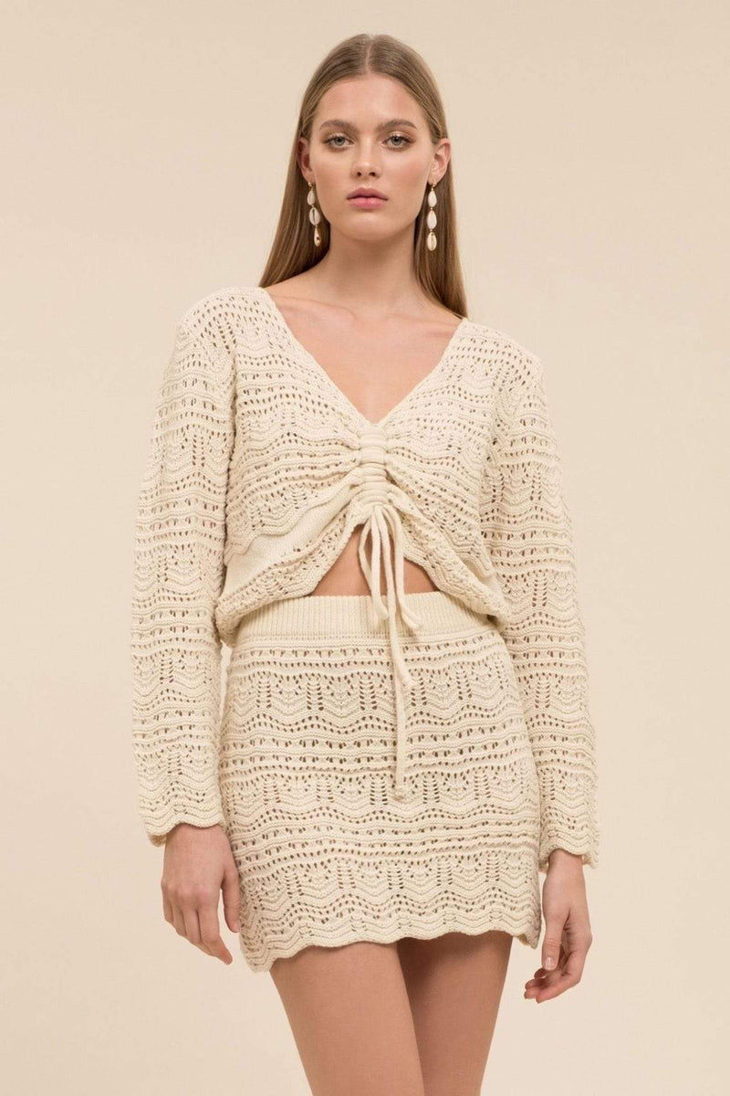 Rochelle V-Neck Tie Front Sweater Cream
