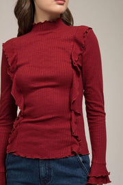 Moon River Sweater Rowan Ruffle Mock Neck