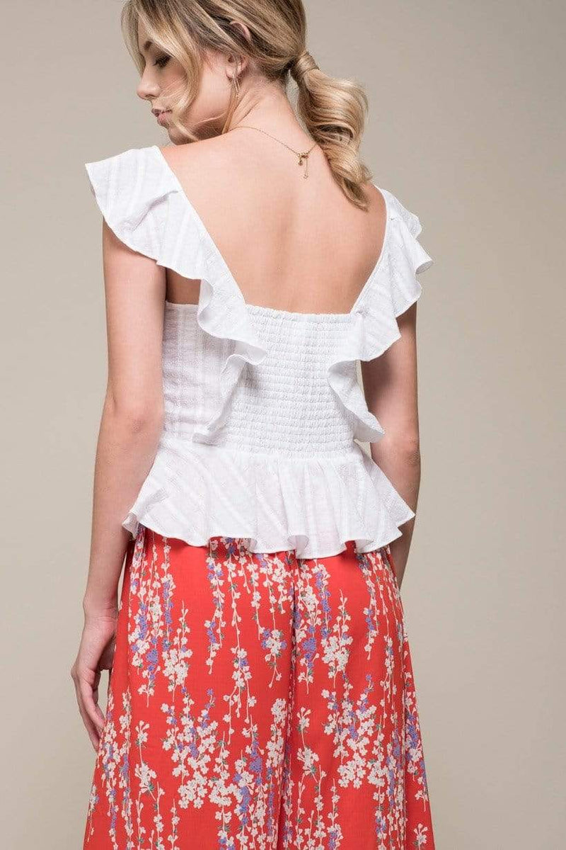 Moon River Tops Blouse Emma Ruffle Top White