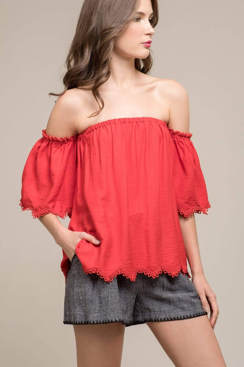 Leila Off the Shoulder Top Red