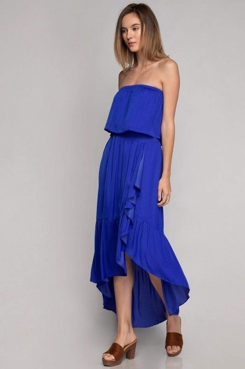 Naked Zebra Dress X Small / Capri Blue / SD113280 Daphne High Low Maxi Dress Capri Blue