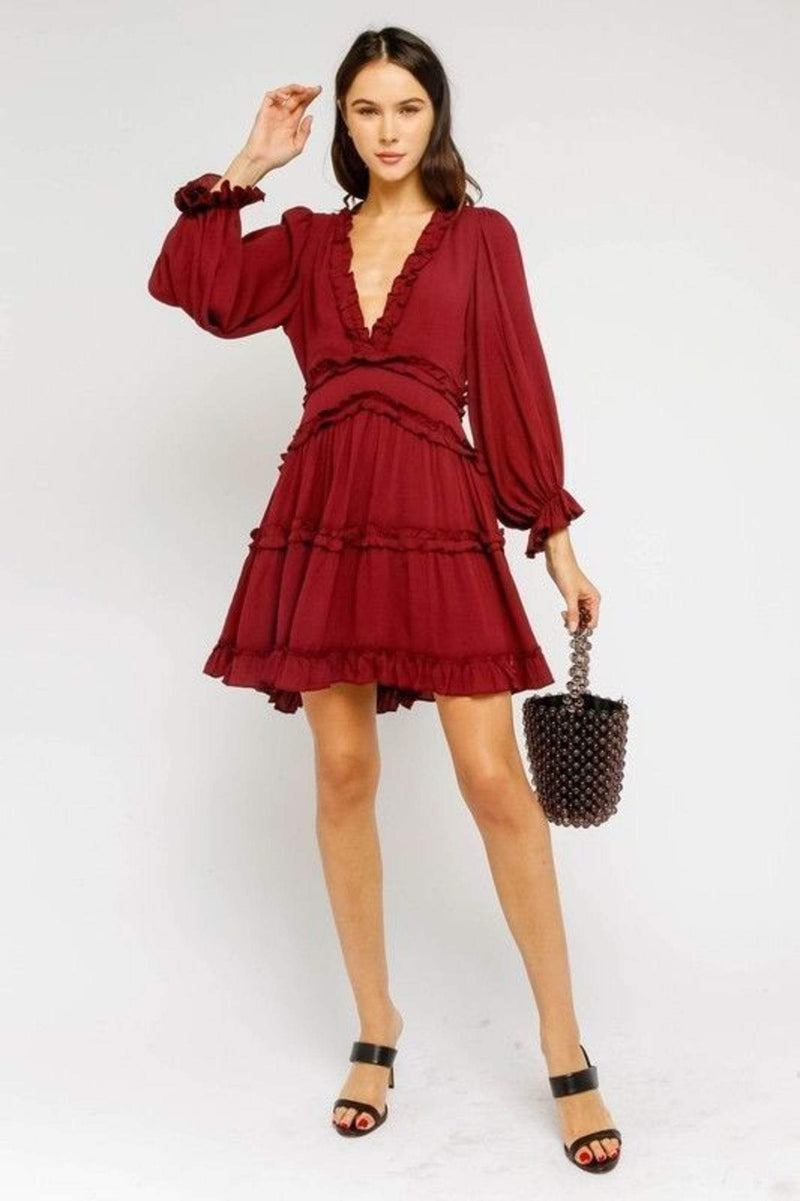 Ava Ruffled Dress Burgundy