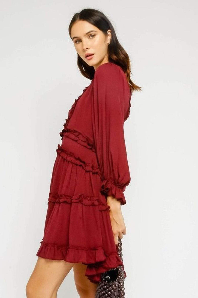 Olivaceous Dress Small / Burgundy / 79-363LDH Ava Ruffled Dress Burgundy