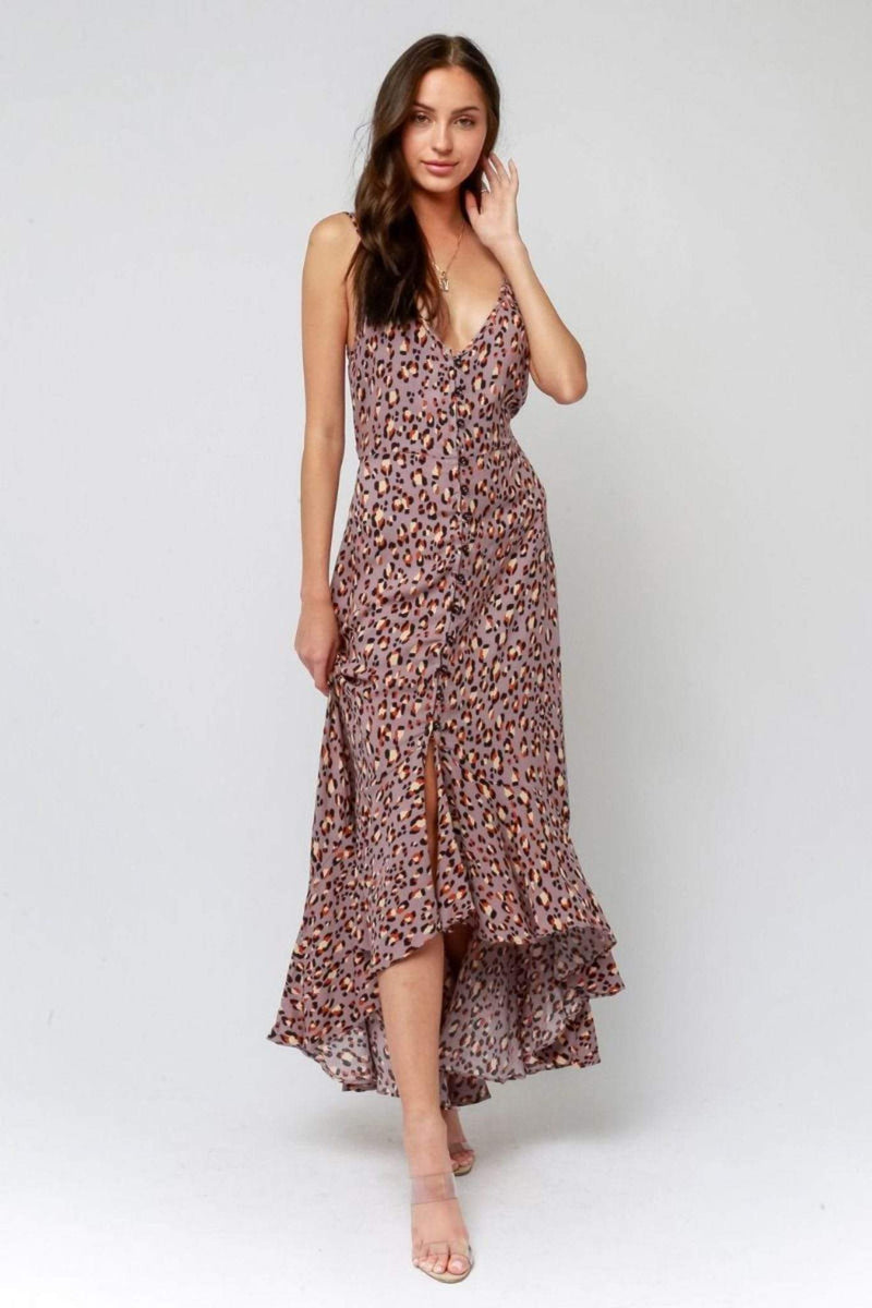 Olivaceous Dress Small / Grey Leopard / 59-93LDJ Jane Maxi Dress Grey Leopard
