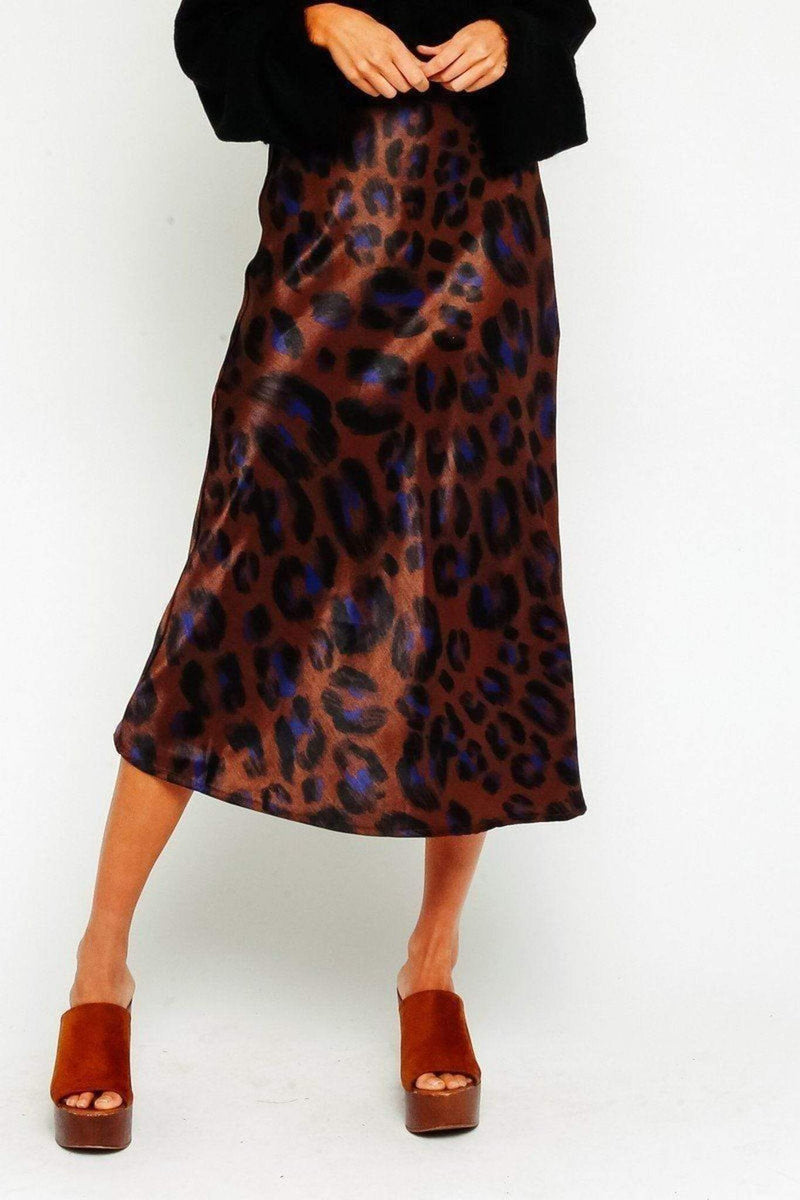 Olivaceous Skirt Medium / Multi / 89-30LSH Leopard Midi Skirt Multi