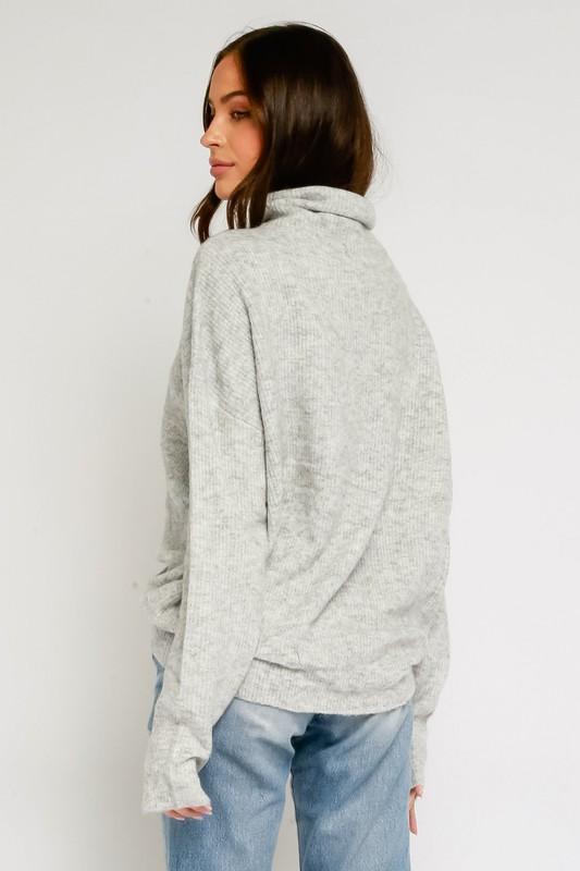 Olivaceous Sweater Feria Fuzzy Mock Neck Sweater Heather Grey