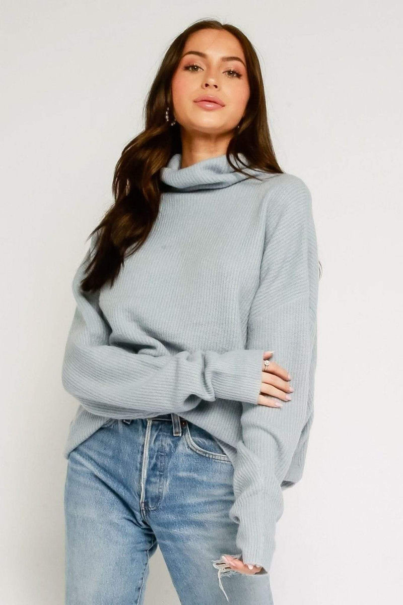 Feria Fuzzy Mock Neck Sweater Light Blue