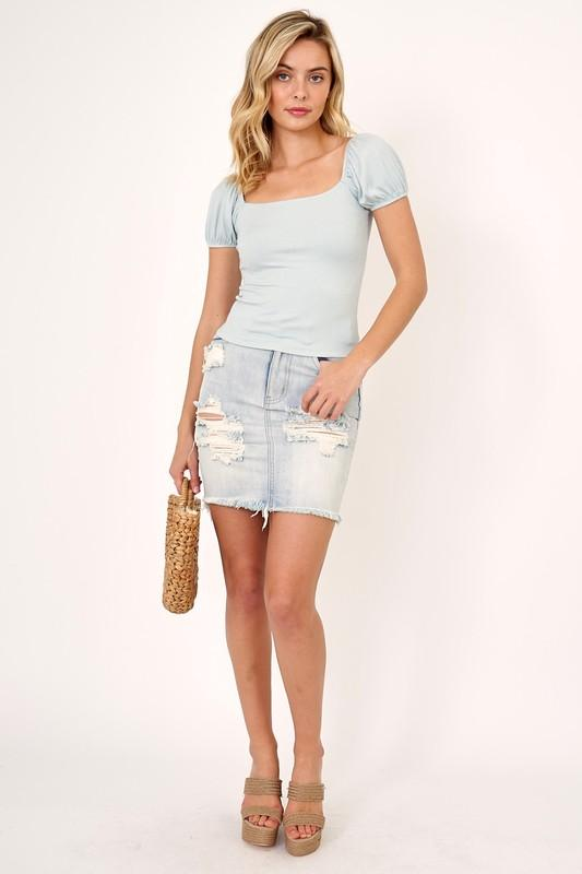 Olivaceous Tee Casuals Megan Short Sleeve Tee Blue