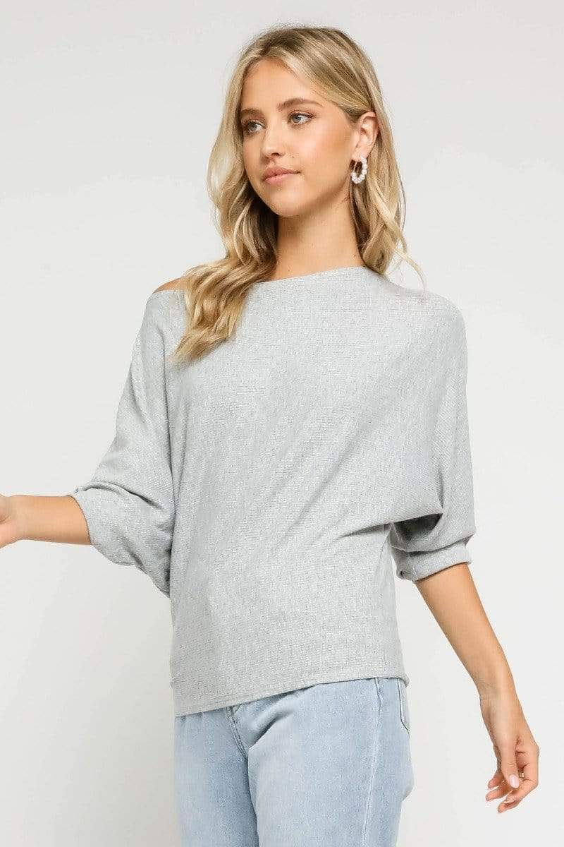 Rhys Off the Shoulder Top Heather Grey