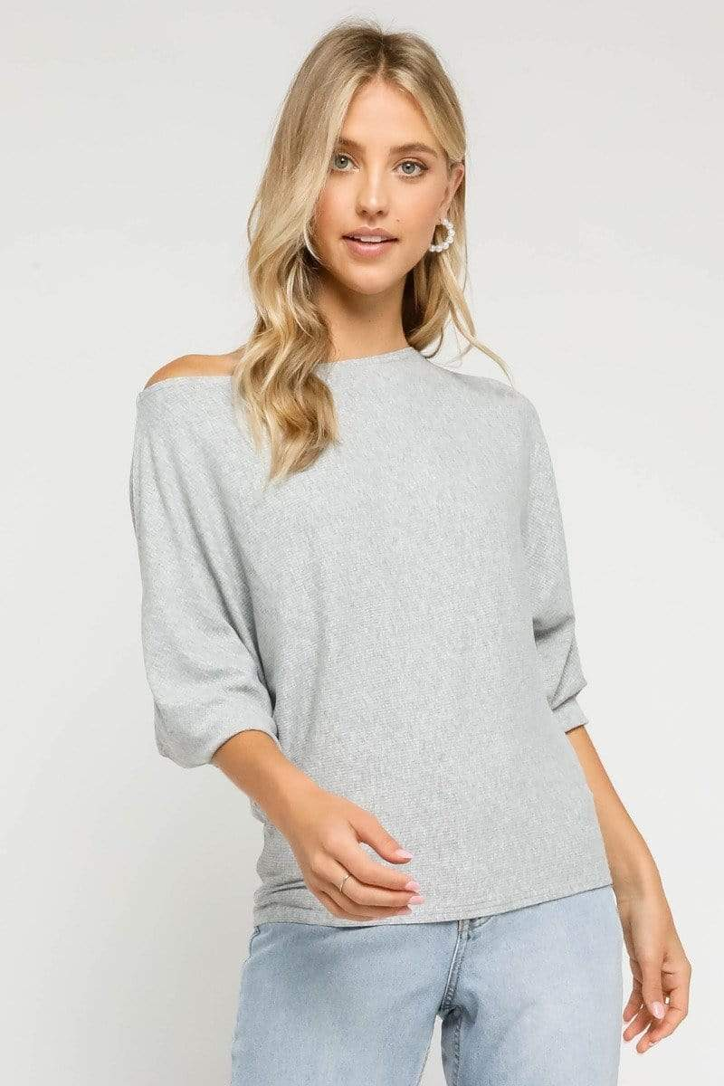 Olivaceous Tee Casuals Rhys Off the Shoulder Top Heather Grey