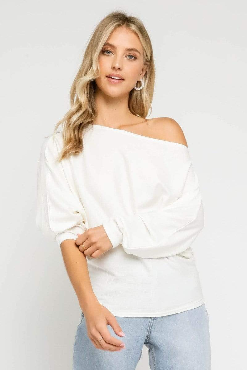 Olivaceous Tee Casuals Rhys Off the Shoulder Top Ivory
