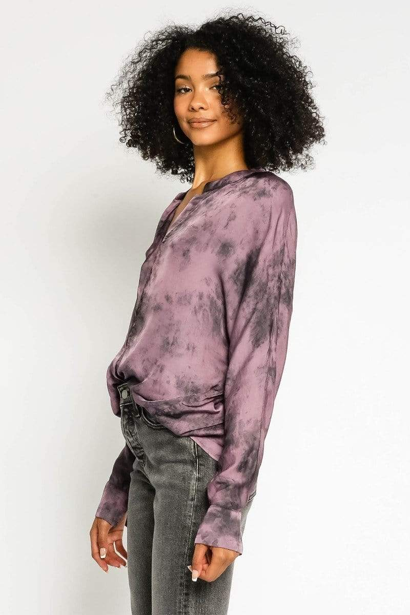 Olivaceous Tops Blouse Abbott Tie Dye V-Neck Top Purple Multi